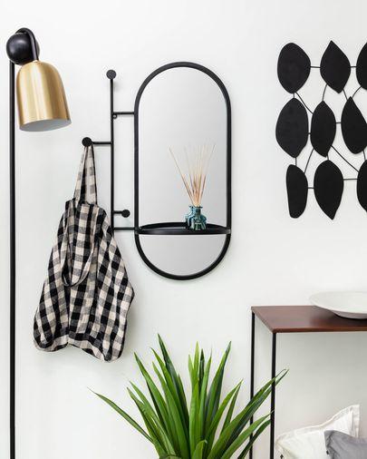 Espejo con colgadores Zada de acero negro 52 x 82 cm