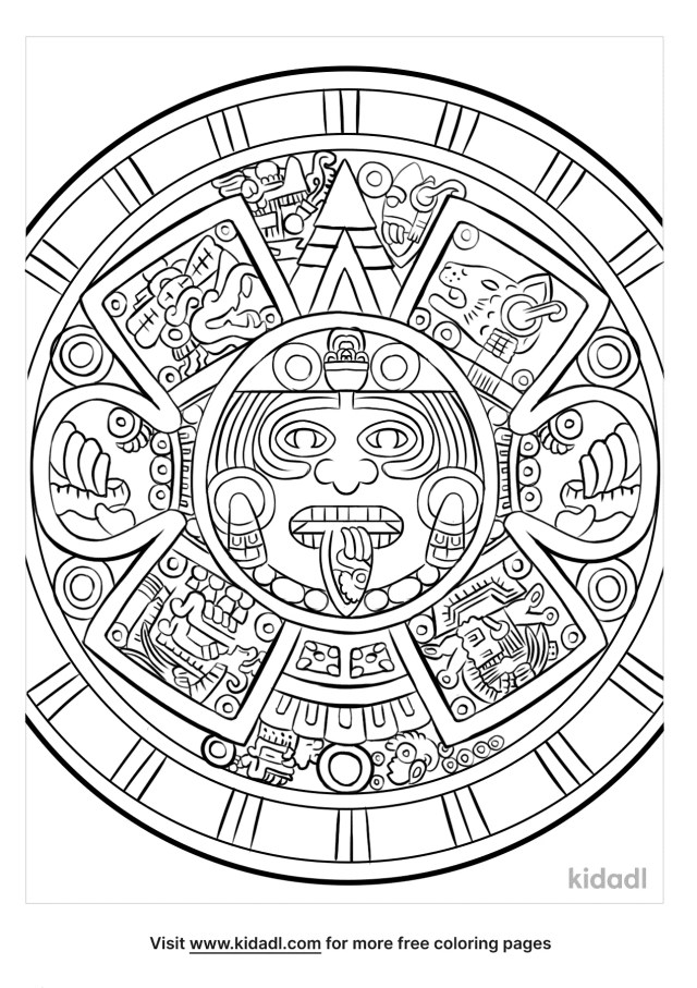 Aztec Calendar Coloring Pages  Free History Coloring Pages  Kidadl