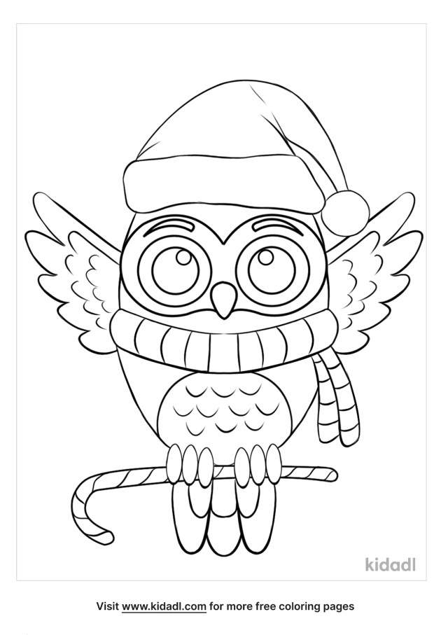 Christmas Owl Coloring Pages  Free Christmas Coloring Pages  Kidadl