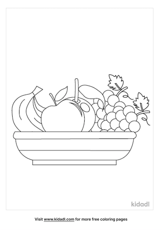 Fruit Basket Coloring Pages  Free Food Coloring Pages  Kidadl