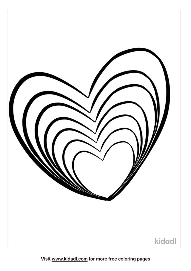 Rainbow Heart Coloring Pages  Free Emojis, Shapes & Signs