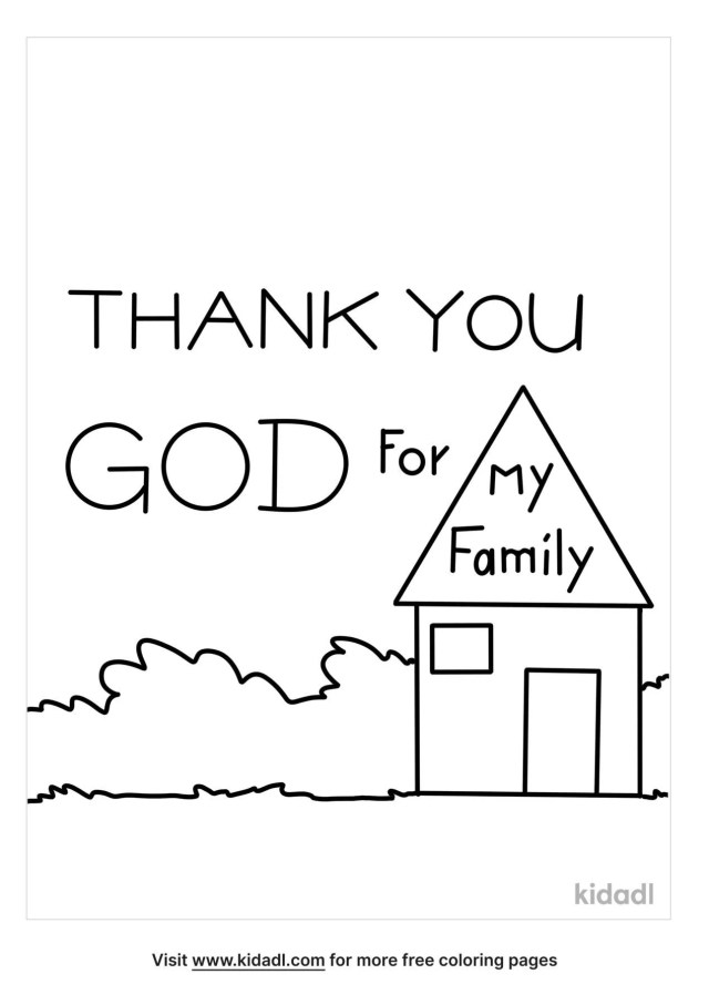 Thank You God For Families Coloring Pages  Free Bible Coloring
