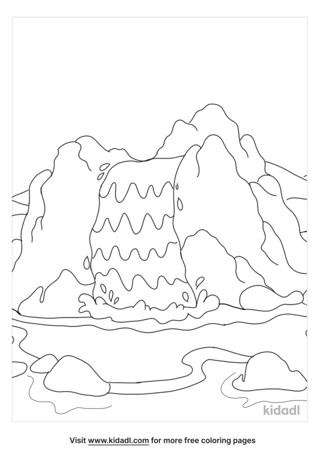 Waterfall Coloring Pages  Free Nature Coloring Pages  Kidadl