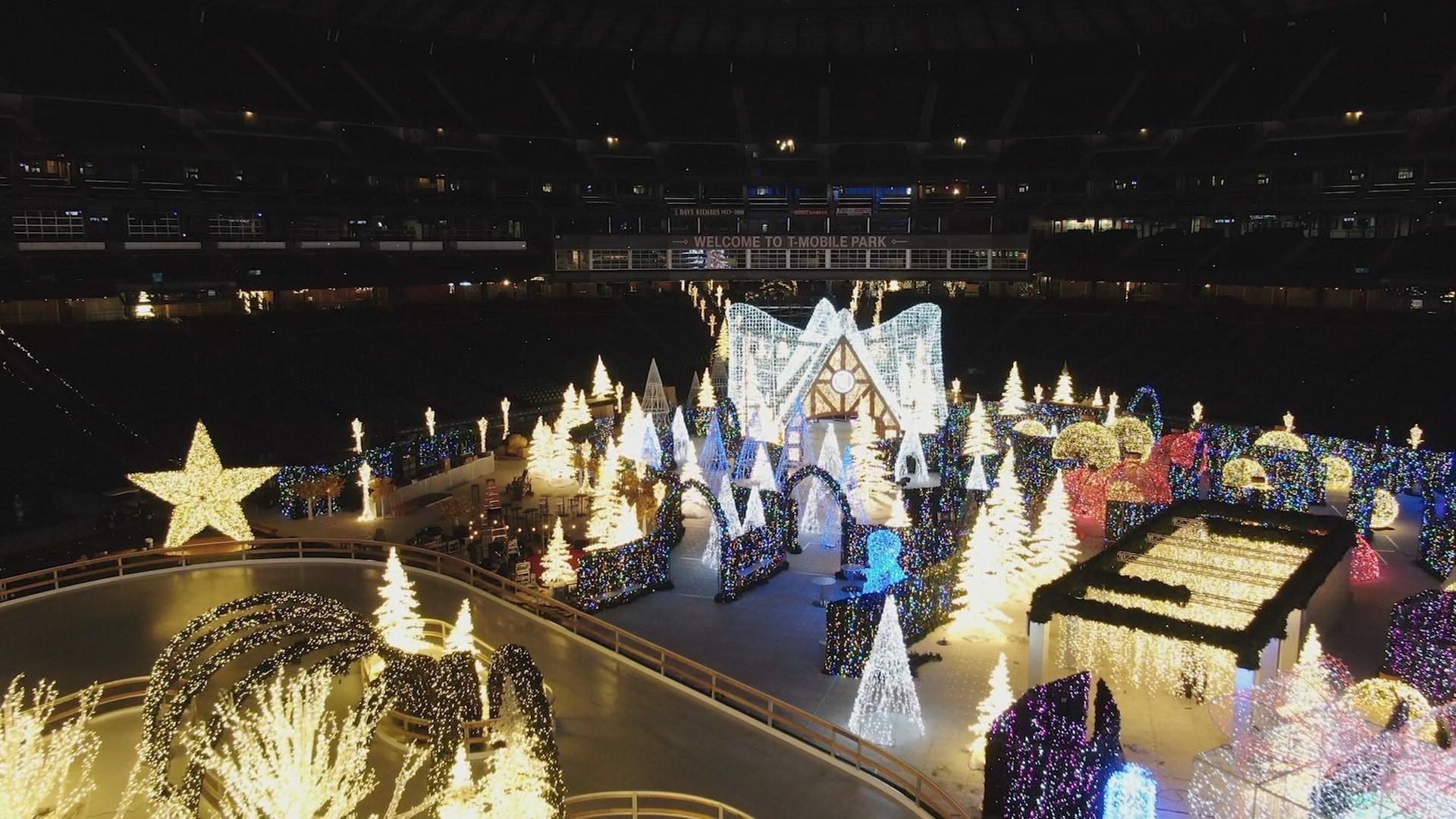drone tour of enchant christmas seattle