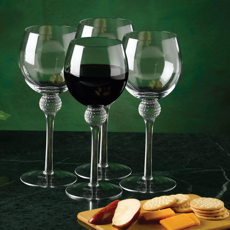 Club Champ 4 Pc Golf Wine Glass Set