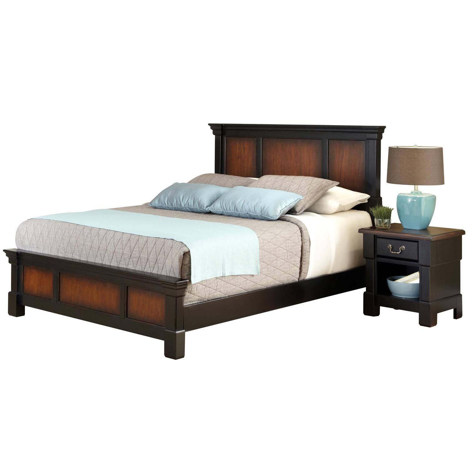 Home Styles Aspen 4 pc  Queen Headboard  Footboard  Frame and     Queen Headboard  Footboard  Frame and Nightstand Set