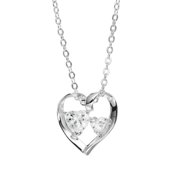 Silver Expressions by LArocks Cubic Zirconia Silver Plated  A     Silver Expressions by LArocks Cubic Zirconia Silver Plated  A Mother s  Love  Ribbon Heart Pendant Necklace
