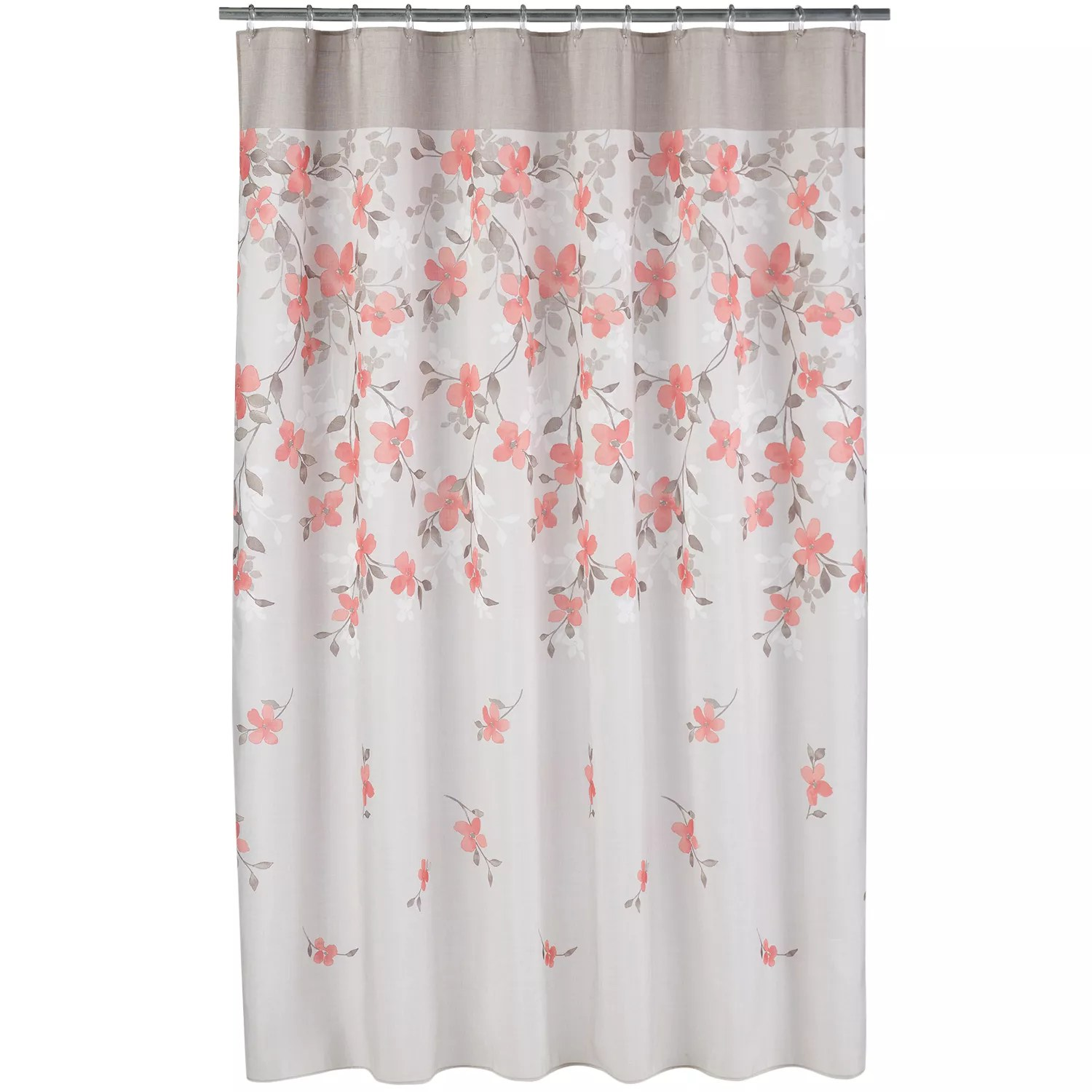 Coral Garden Floral Fabric Shower Curtain