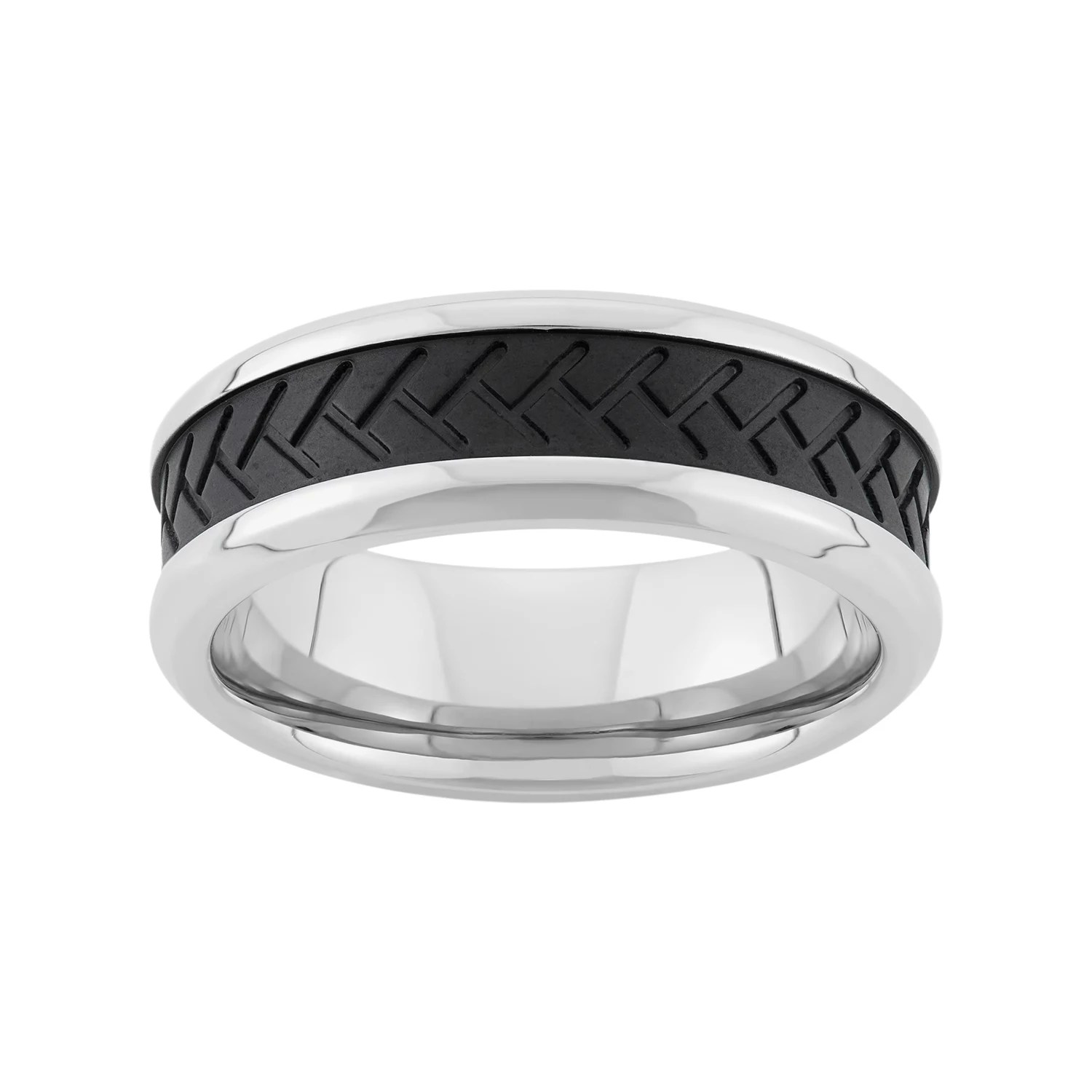 Two Tone Stainless Steel Tire Tread Wedding Band Men