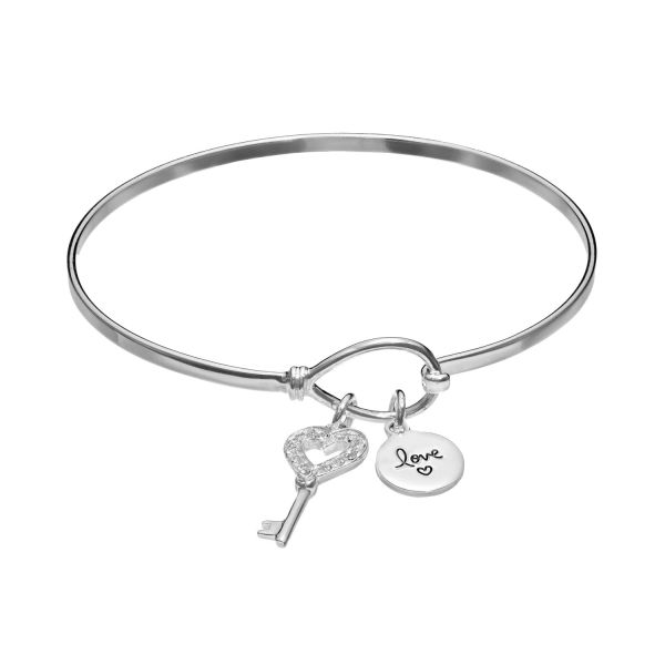 Silver Expressions by LArocks Silver Plated Crystal Key    Love     Silver Expressions by LArocks Silver Plated Crystal Key    Love  Charm  Bangle Bracelet