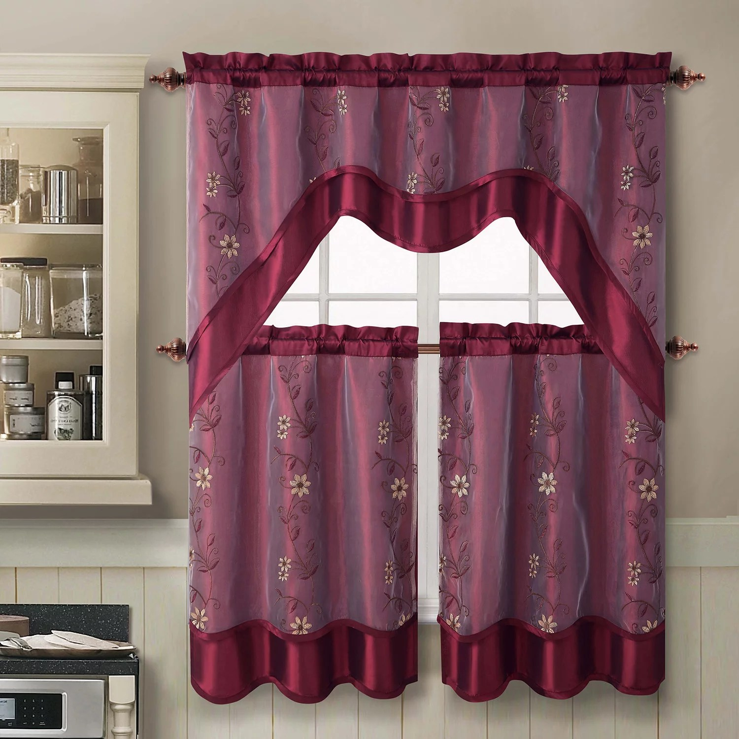 VCNY Daphne 3 Pc Swag Tier Kitchen Curtain Set