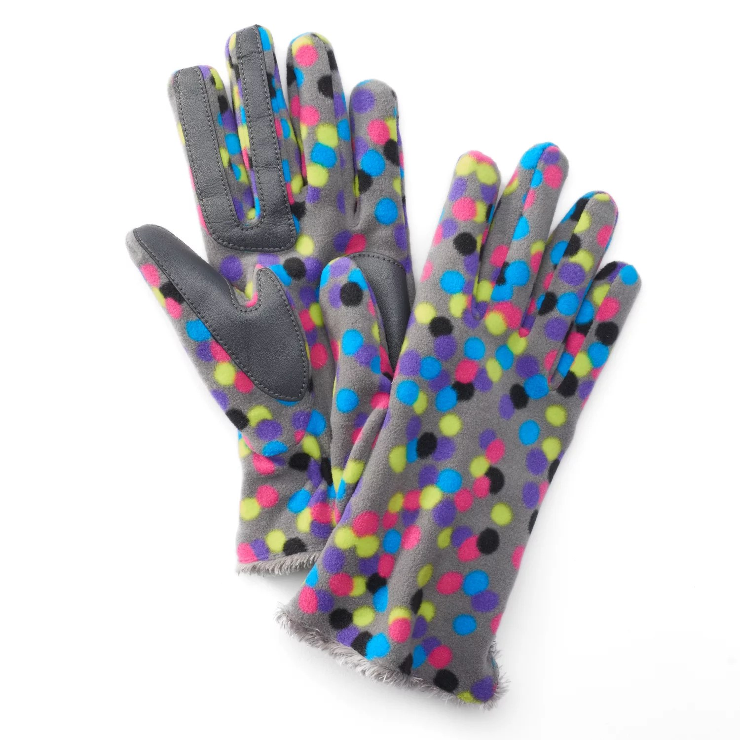 Knit Gloves With Leather Palms
