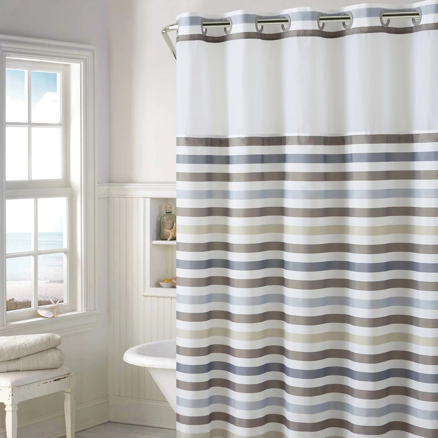 Hookless Hampton Multi Striped Shower Curtain With Liner