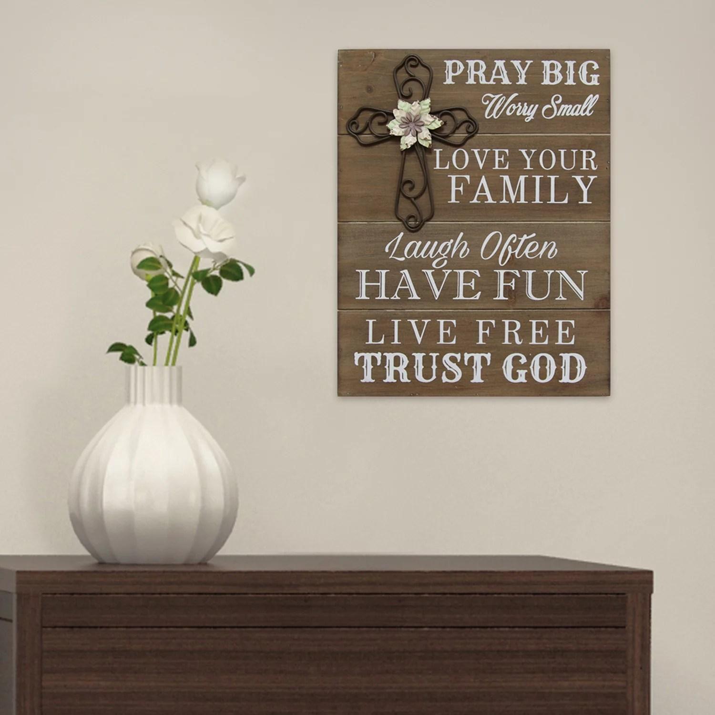 Stratton Home Decor Pray Big Wood Wall Art