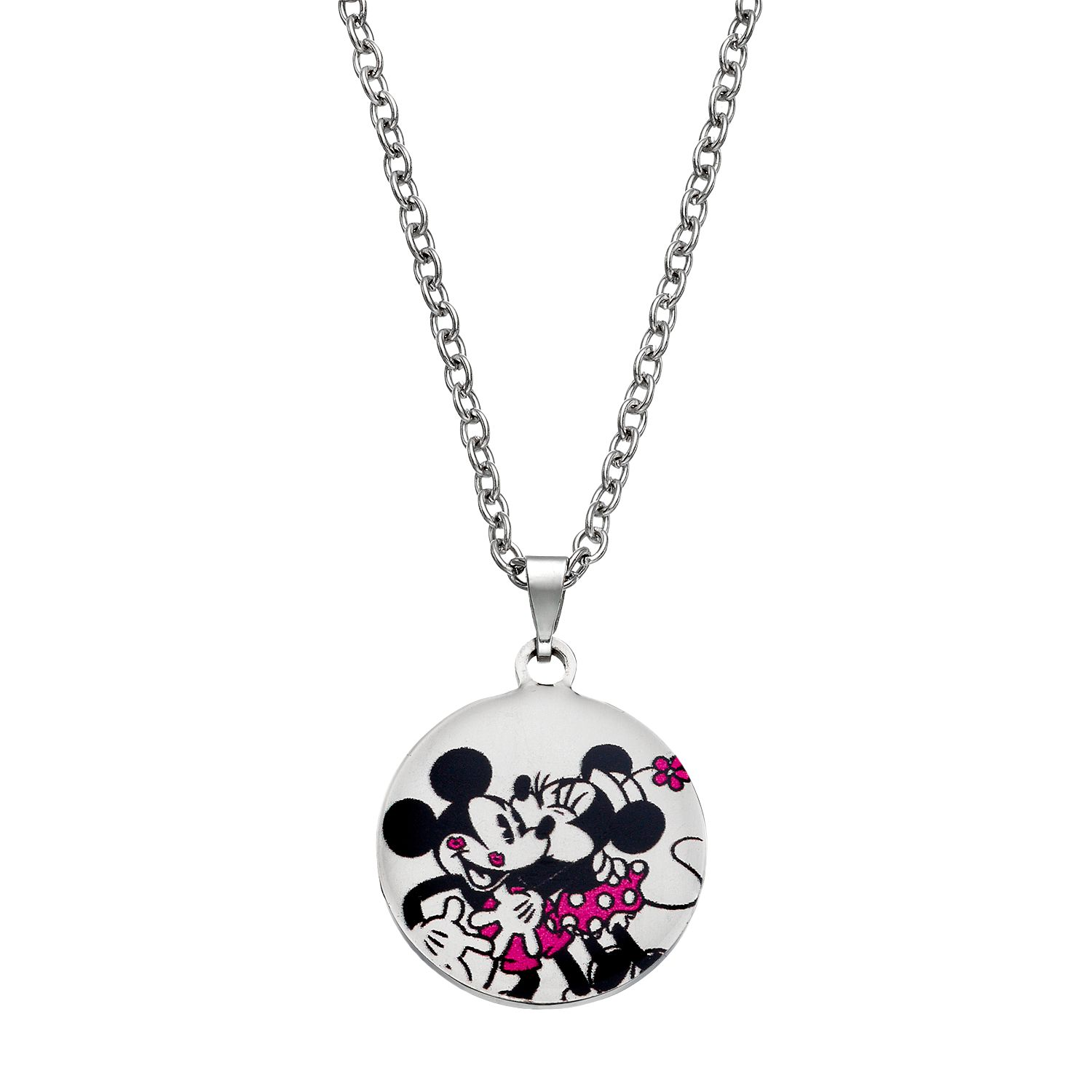 Disneys Mickey Amp Minnie Mouse Kids Stainless Steel Heart Pendant Necklace