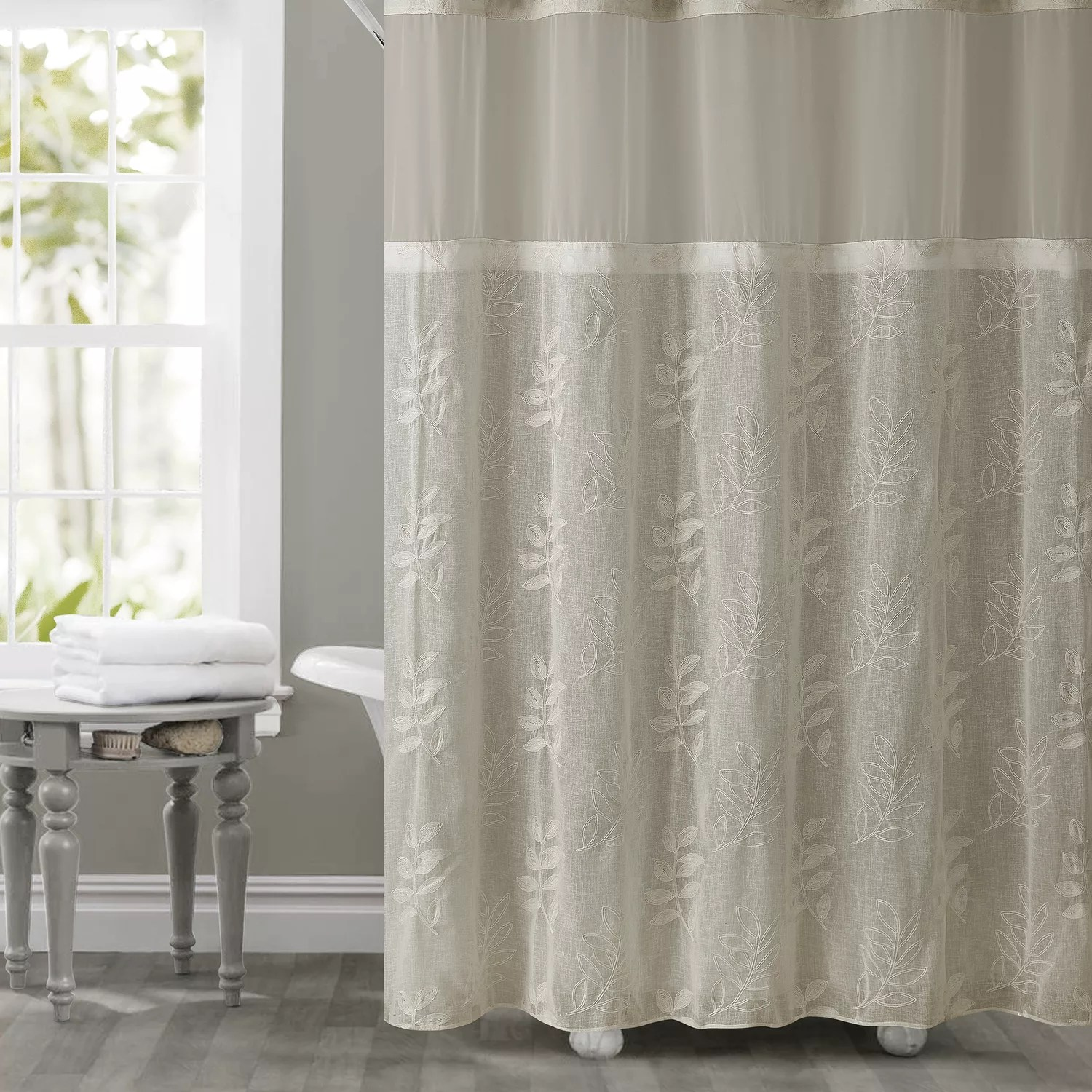 Hookless Palm Leaves Shower Curtain Amp Liner