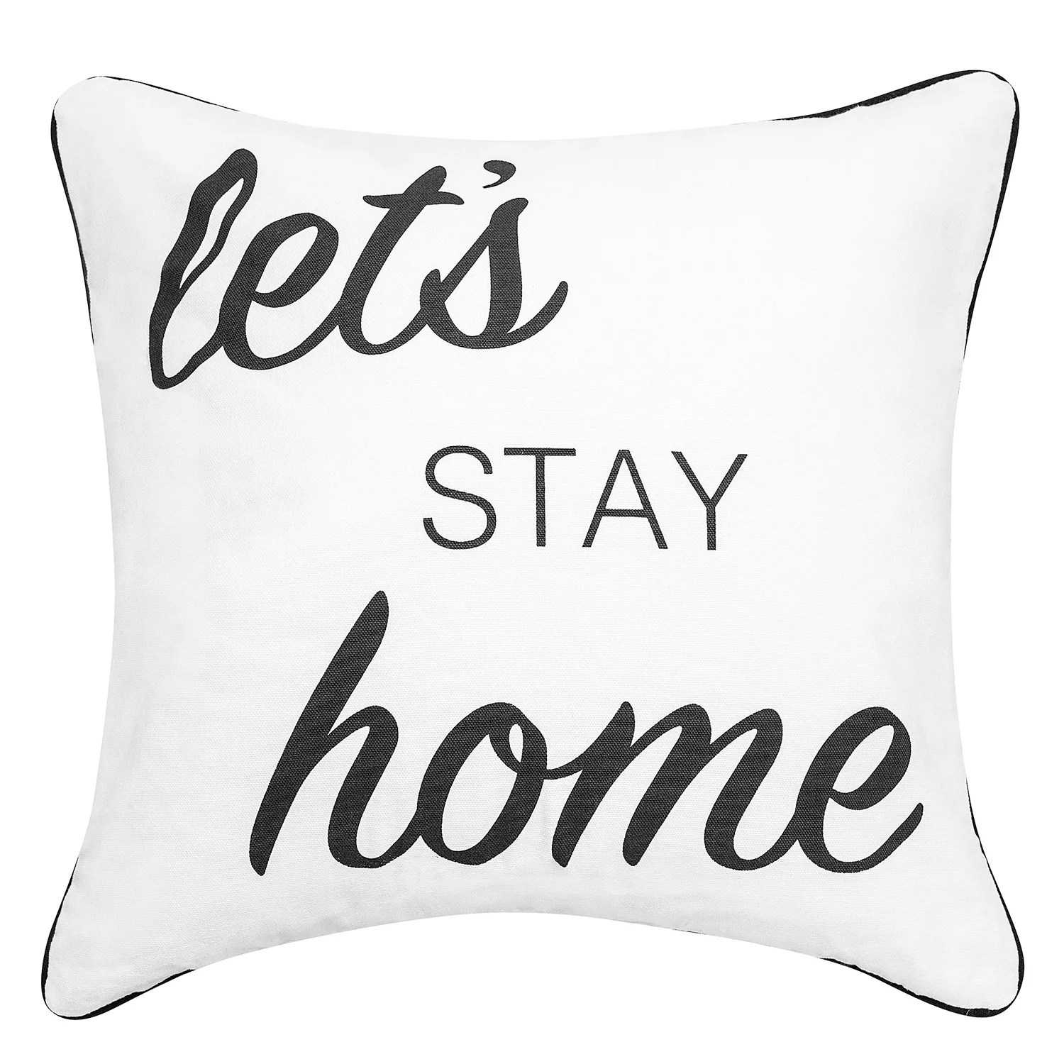 script sentiments let s stay home feather fill throw pillow