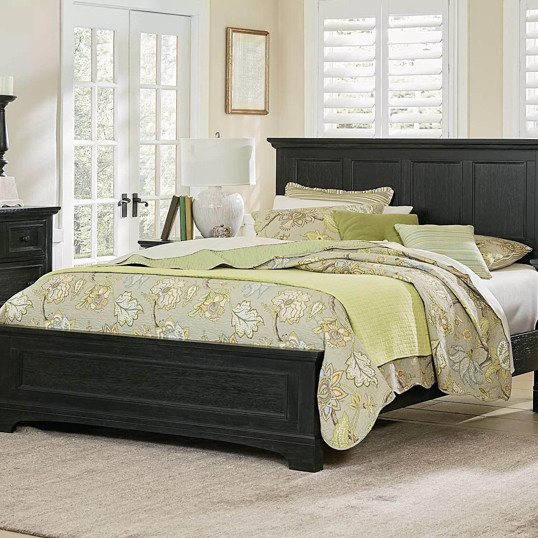 osp home furnishings farmhouse basics king bed set in rustic black