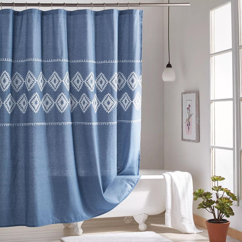 peri chambray geo shower curtain