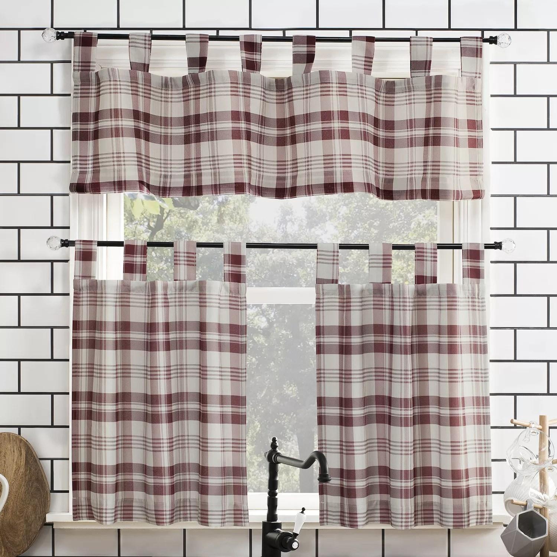 no 918 blair farmhouse plaid semi sheer tab top kitchen curtain valance tier set