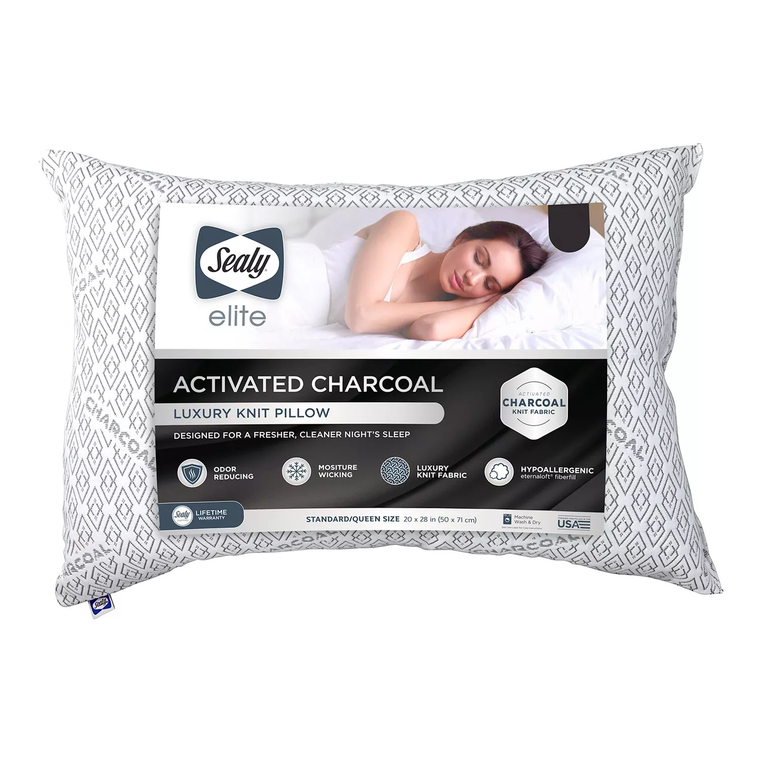 sealy elite activated charcoal detoxifying pillow