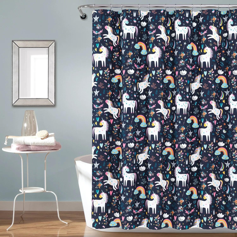 lush decor unicorn heart shower curtain