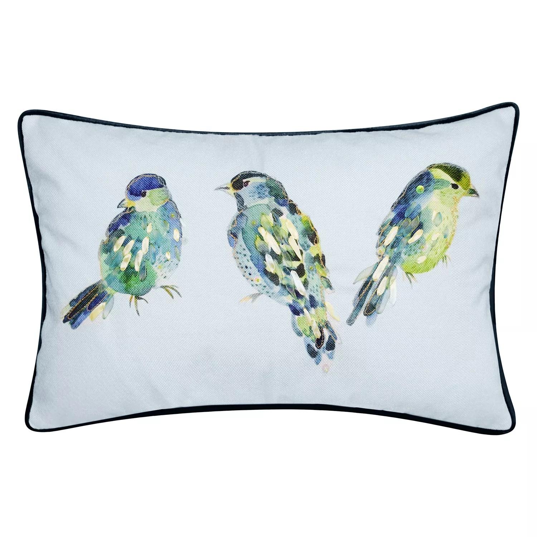 edie home reversible ribbon blue birds decorative lumbar pillow