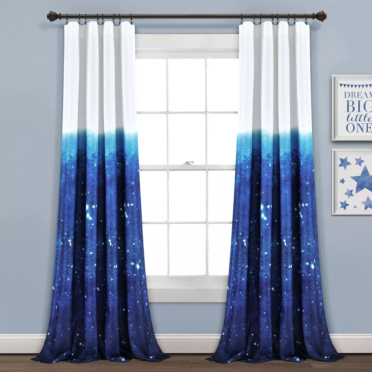 make a wish space star ombre window curtain panels 52 x 84 set