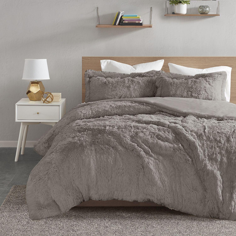 intelligent design malea shaggy faux fur duvet cover set