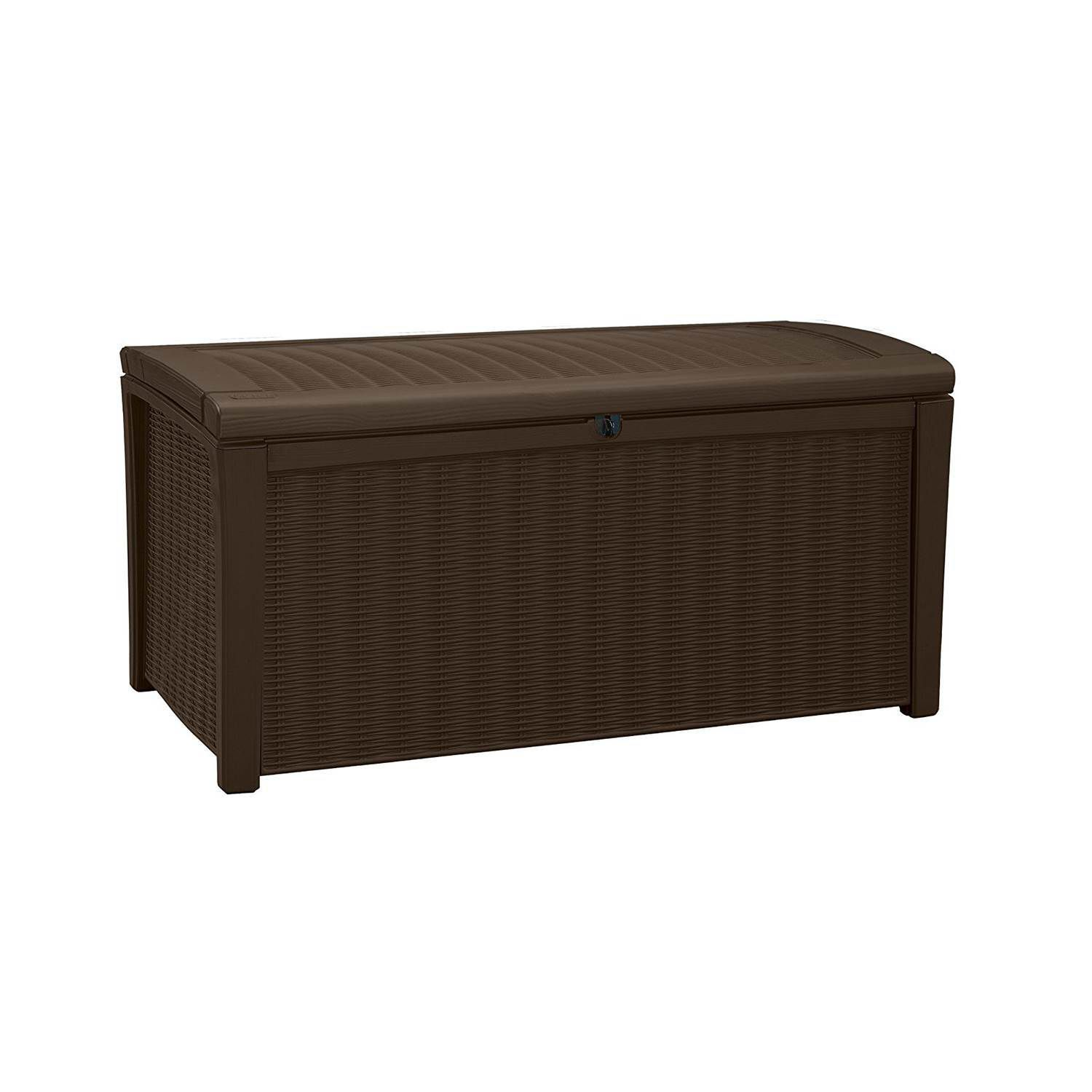keter borneo 110 gallon rattan resin outdoor patio storage deck box and bench
