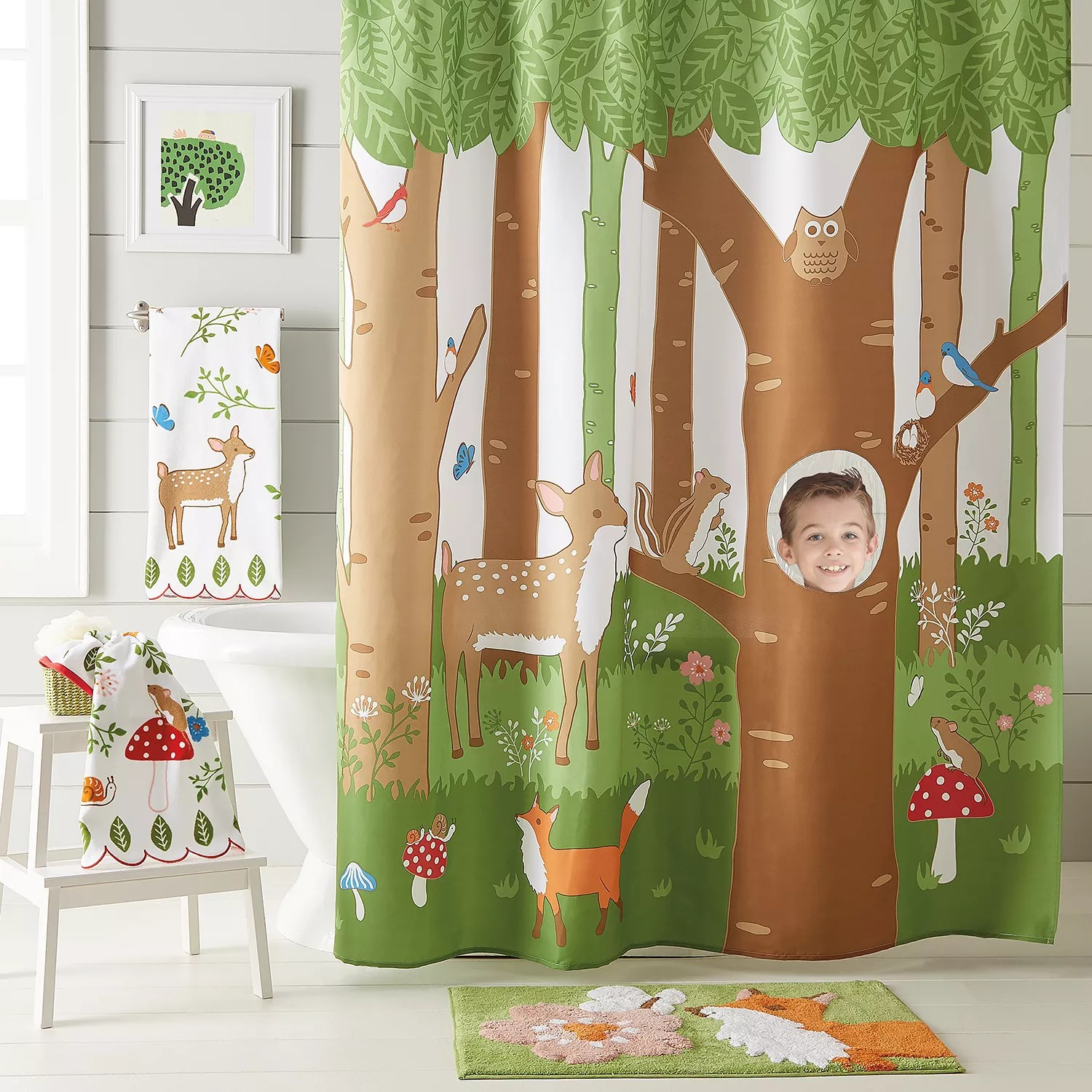 woodland friends shower curtain collection