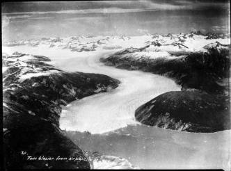 View of Taku Glacier from an airplane. (P344-375 Alaska State Library - George Family Photo Collection)