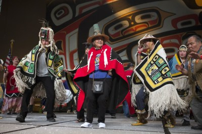 Rosita Worl, president of Sealaska Heritage Institute, center, dancing with her fellow Thunderbird dancers. (Photo courtesy of Brian Wallace)