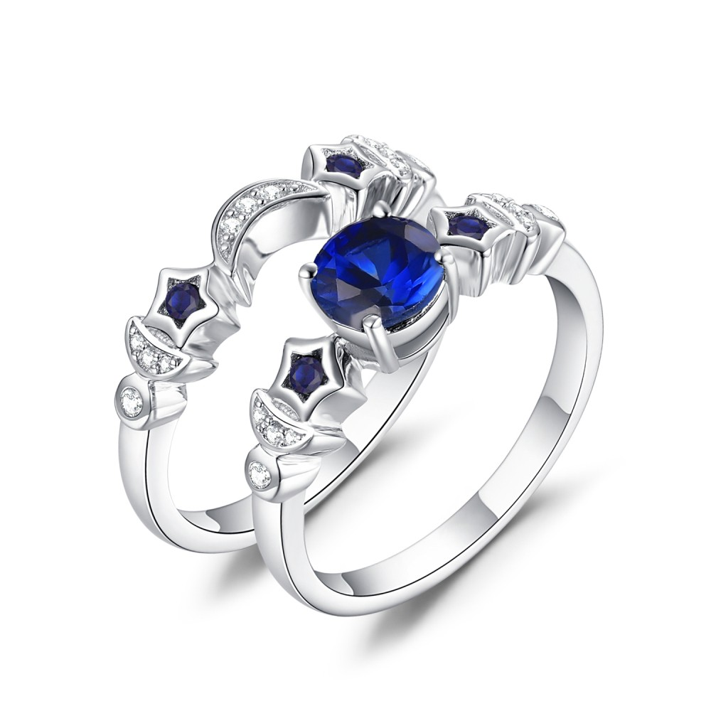 Moon And Star Blue Sapphire 925 Sterling Silver Womens