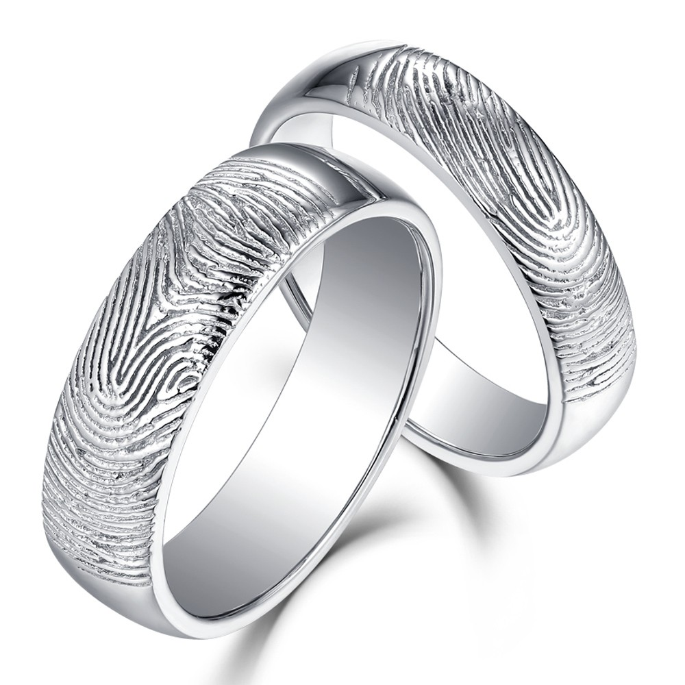 Beautifully Textured Fingerprint 925 Sterling Silver