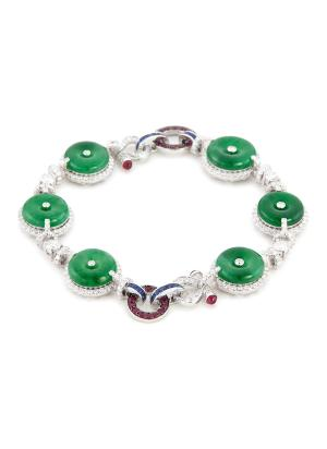 Diamond sapphire jade 18k gold bracelet