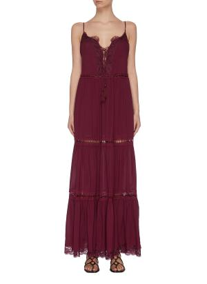Lace detail fringed maxi dress