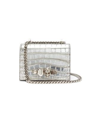 The small jewelled satchel in croc embossed leather Swarovski crystal knuckle