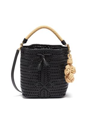 'Neeson' small cherry leather woven bag