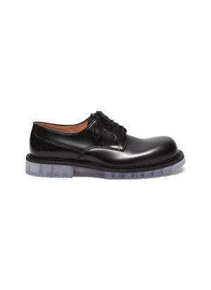 Clear sole derby shoes