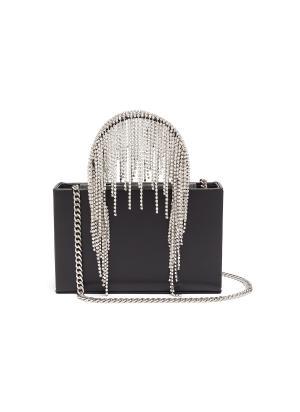 Midi crystal fringe leather tote bag