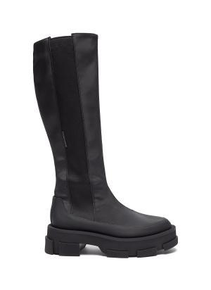 """GAO' Elastic Side Panel Knee High Platform Leather Boots"
