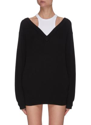Inner tank top layer knit V neck sweater