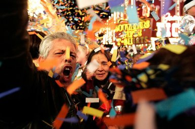 Leroy and Rosemary Baca of Trinidad, Colo., celebrate as confetti falls after midnight during the New Years party last year at the Fremont Street Experience in downtown Las Vegas. Crews will set off fireworks at eight locations tonight on the Strip and downtown. -- Leila Navidi/File Photo, Courtesy of the Las Vegas Sun