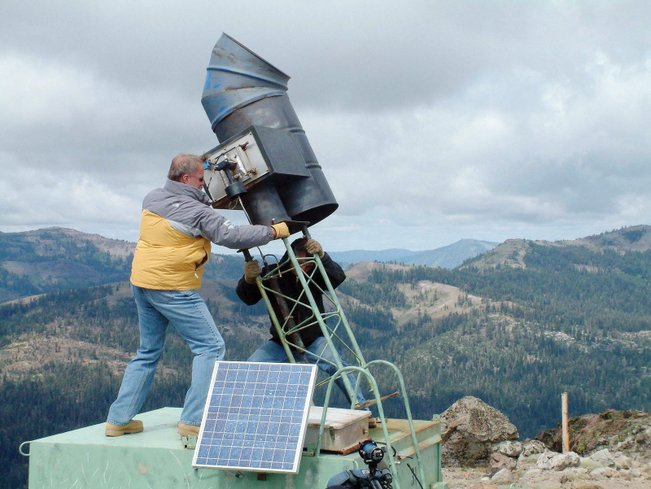Cloud seeding equipment in use to produce snow in the mountains between California and Nevada, Utah and Colorado
