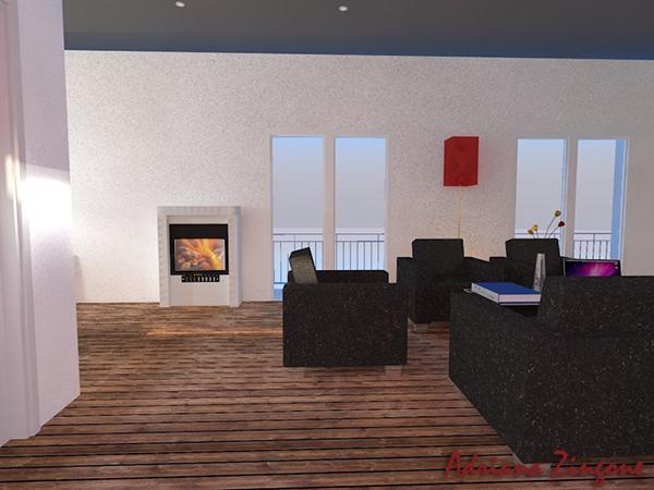 Stufa salotto vista 3d