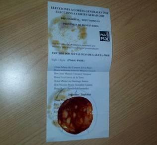 El BNG reclama contra la admisión de una papeleta con una loncha de chorizo dentro