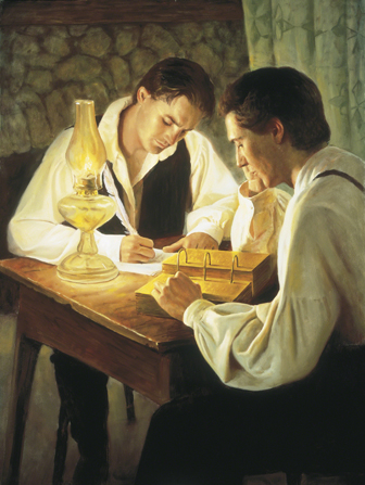 Joseph Smith and Oliver Cowdery translate the Book of Mormon