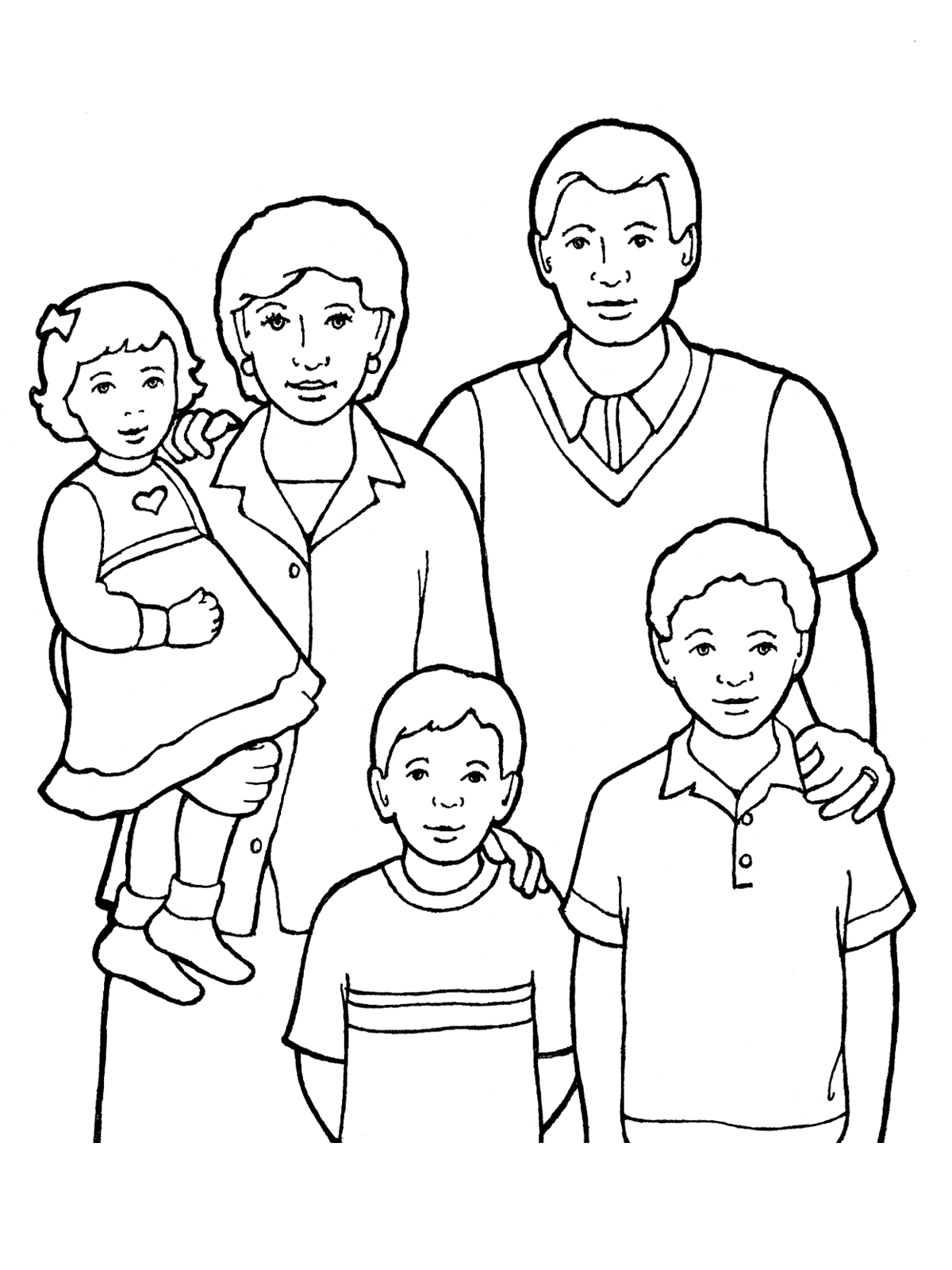 Family Of Five Standing Together