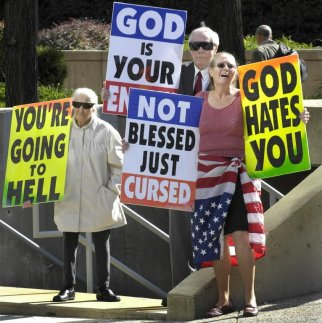 Westboro Baptist Church Protest with Signs